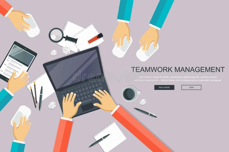 Teamwork management concept. Analyzing project on business meeting. Group of people around the table. Flat vector stock illustration