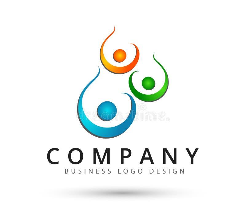 Teamwork-Management-Leute gruppieren zusammen Logo des neuen Konzeptes lizenzfreie abbildung