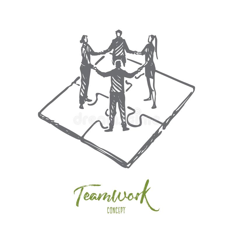 Teamwork, marketing, strategy, business, communication concept. Hand drawn isolated vector. stock illustration
