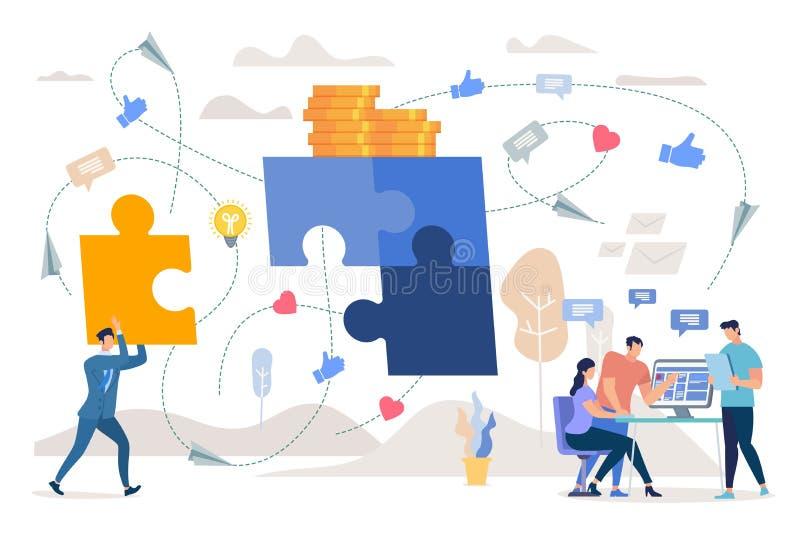 Teamwork on Marketing Strategy Flat Vector Concept stock illustration