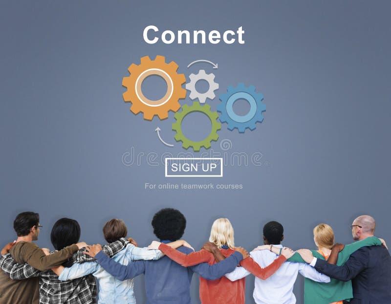 Teamwork med förbinder växelverkanbegrepp arkivfoton