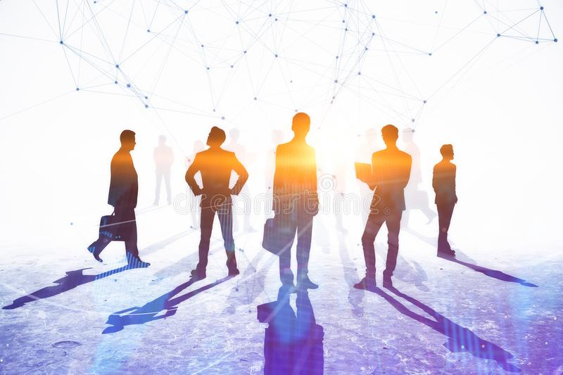 Teamwork, meeting and connection concept. Businesspeople crowd silhouettes on light city office background. Double exposure vector illustration