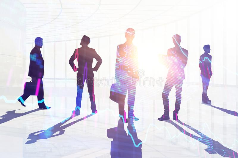 Teamwork, meeting and job concept. Businesspeople crowd silhouettes on light city office background. Double exposure vector illustration