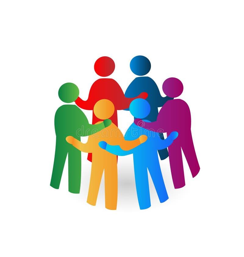 Teamwork meeting people logo royalty free illustration