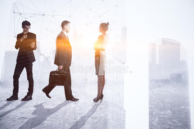 Teamwork, meeting and successful concept. Businesspeople crowd silhouettes on light city office background. Double exposure stock images