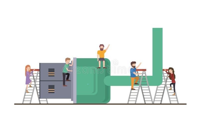 Teamwork mini people doing usb cable. Vector illustration design vector illustration
