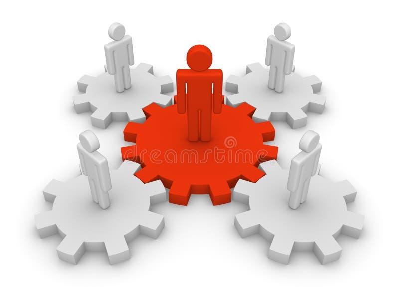 Teamwork mit teamleader stock abbildung