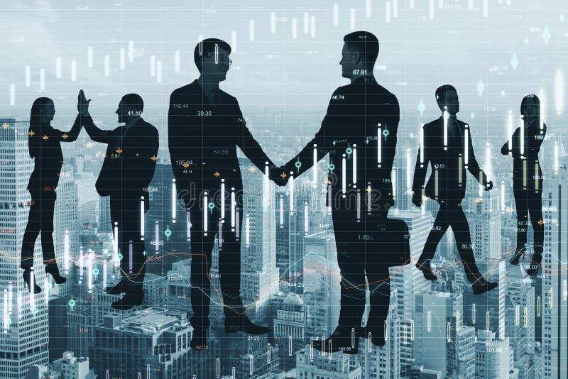 Teamwork och finansiellt tillv?xtbegrepp vektor illustrationer