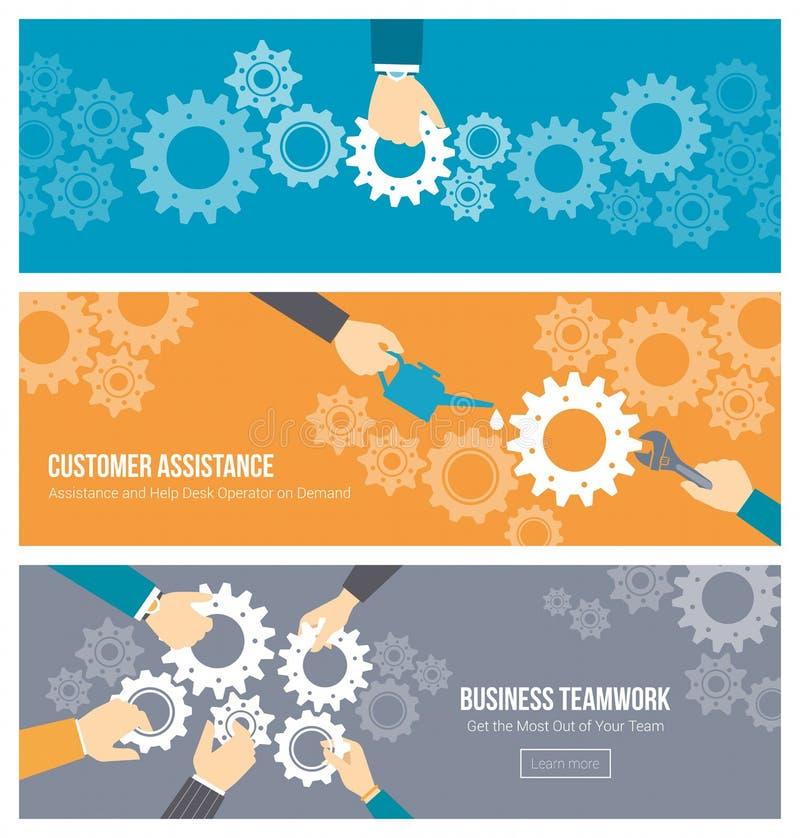 Teamwork- och servicebaneruppsättning royaltyfri illustrationer