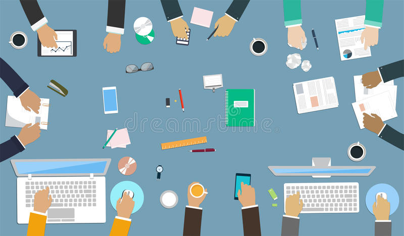 Teamwork for office desk. Interaction hands in the work. Business strategy, new idea of company, financial strategy, development of new projects vector illustration