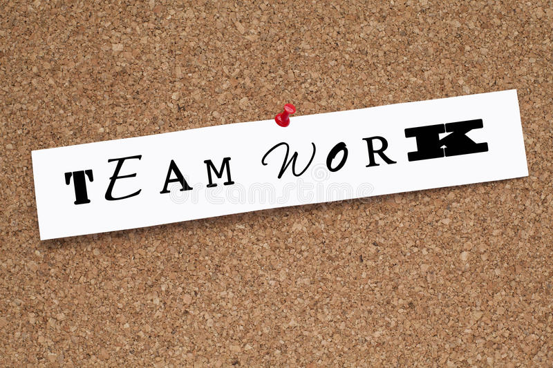 Teamwork. Paper with different fonts stock image