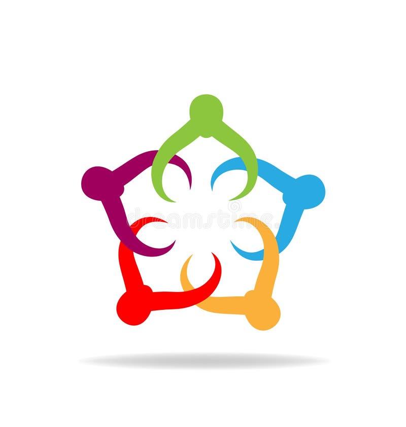 Teamwork partners holding hands logo vector royalty free illustration