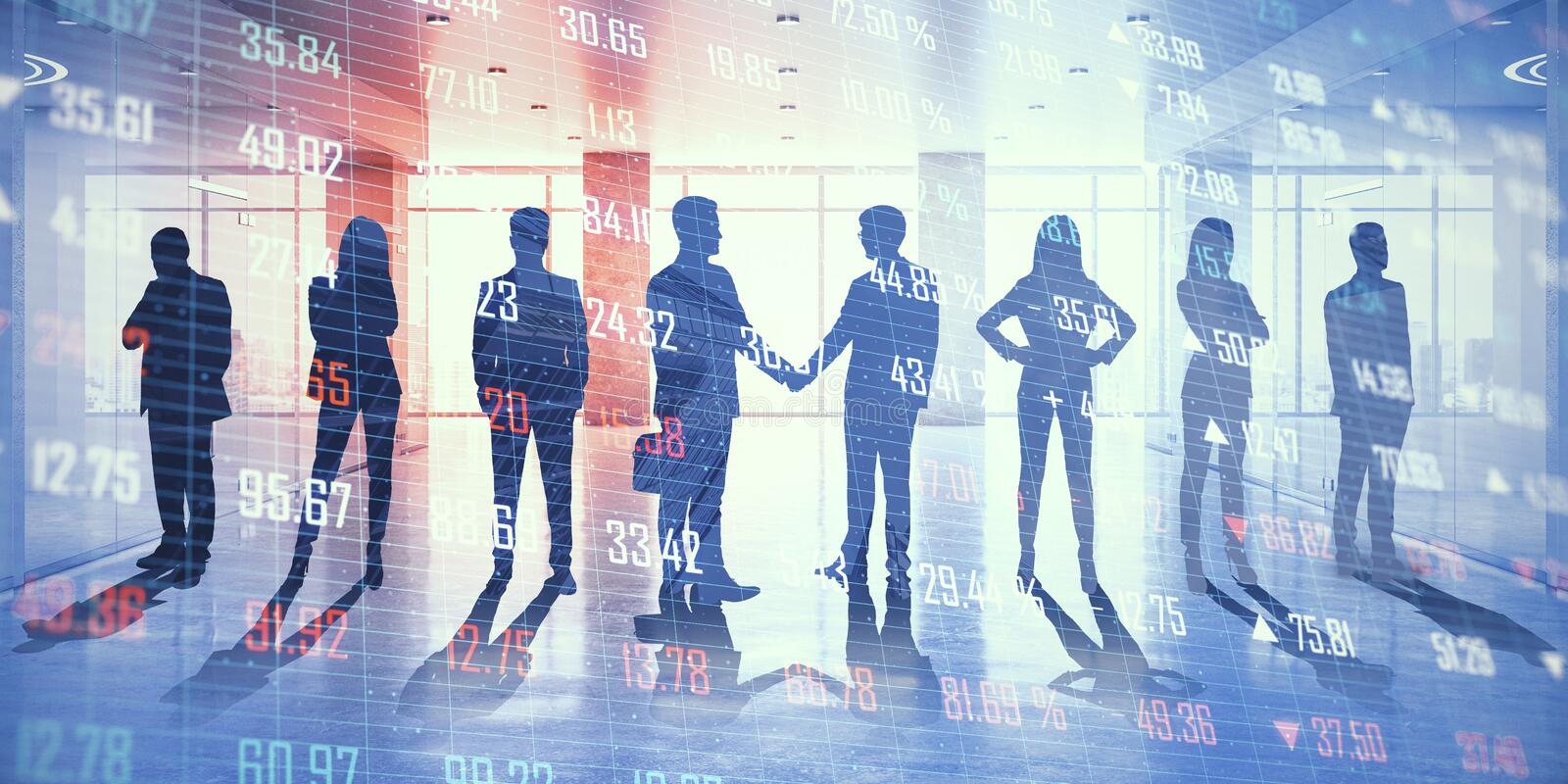 Teamwork and partnership concept. Businesspeople on abstract office hologram background. Teamwork and partnership concept. Double exposure royalty free stock images