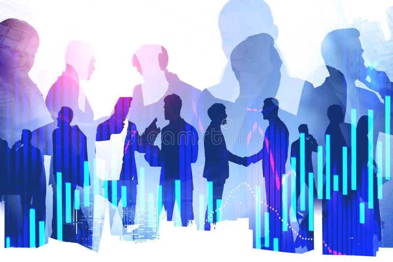 Teamwork and partnership concept, forex graphs stock photos