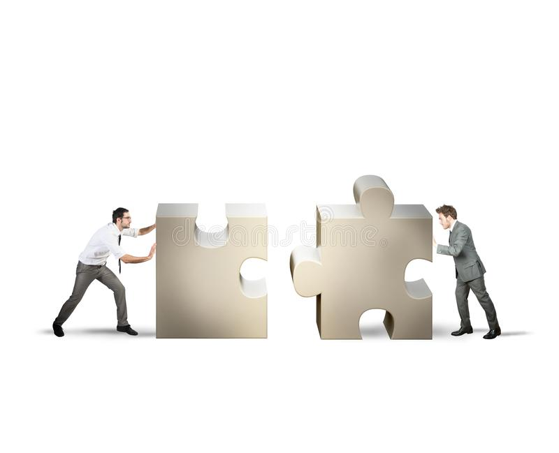Teamwork and partnership concept. Of two businessman royalty free stock images