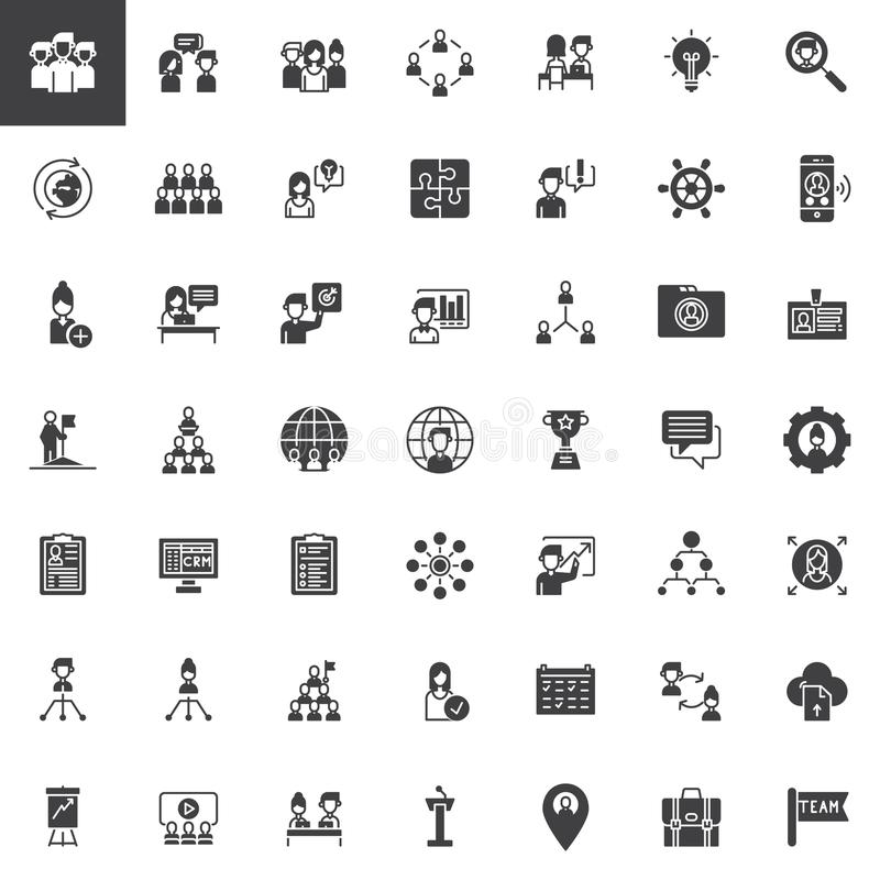 Teamwork and partnership vector icons set royalty free illustration