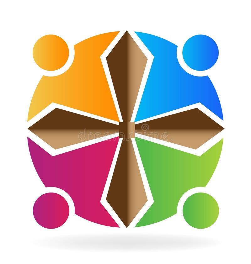 Teamwork people cross shape stock illustration