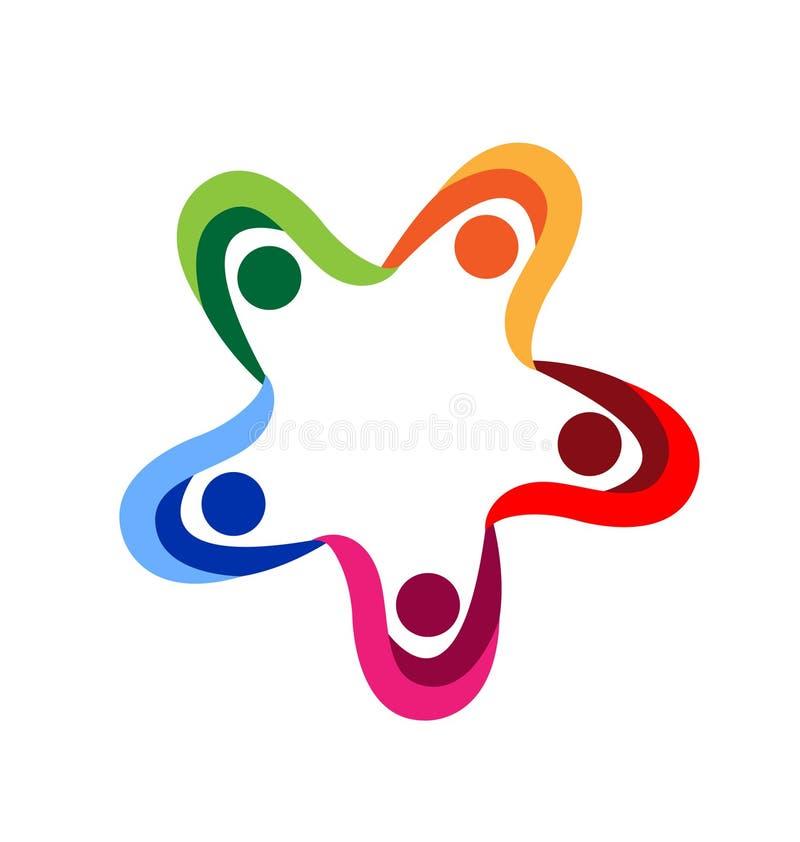 Teamwork people holding hands logo vector illustration