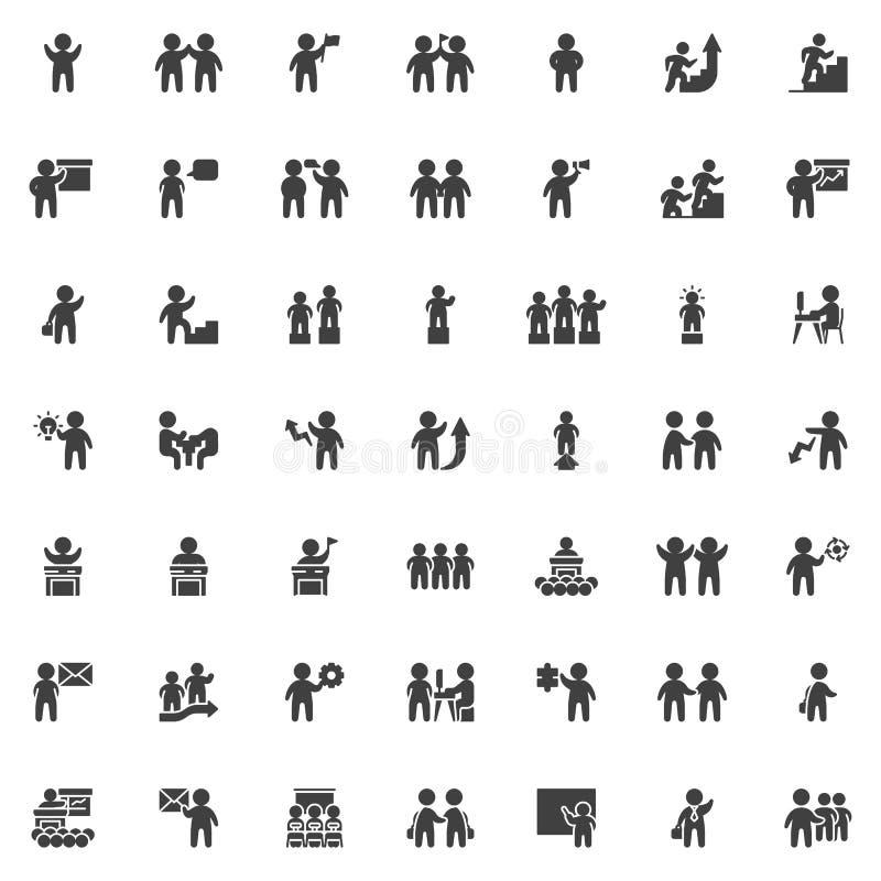 Teamwork people vector icons set vector illustration