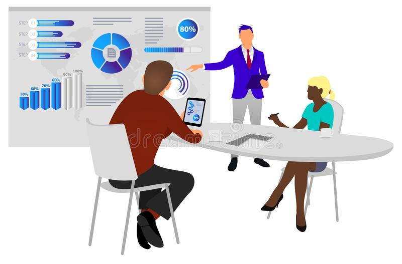 People work in a team and interact with graphs. Business, workflow management and office situations. Dashboard. 3d vector isometri stock illustration
