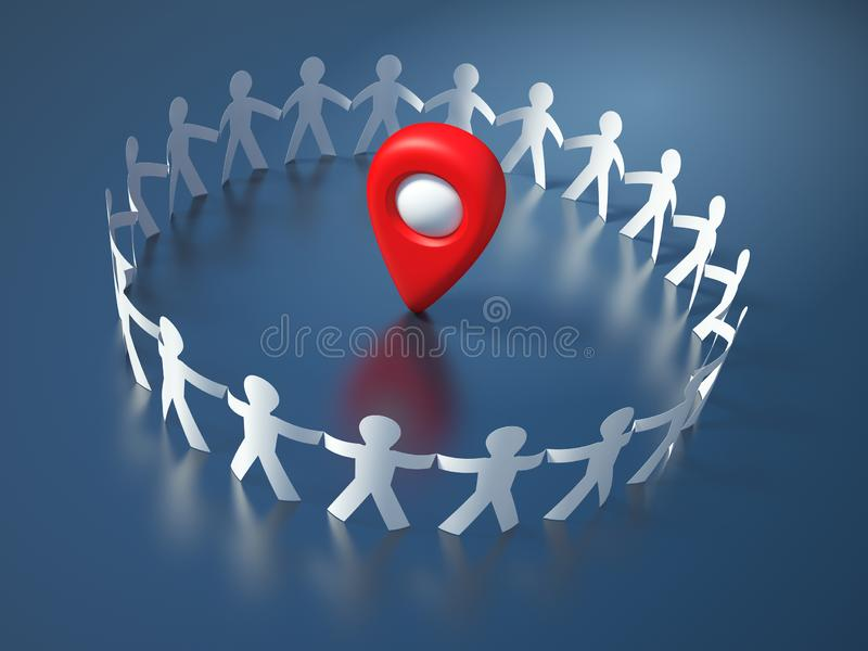 Teamwork Pictogram People with GPS Marker. High Quality 3D Rendering vector illustration