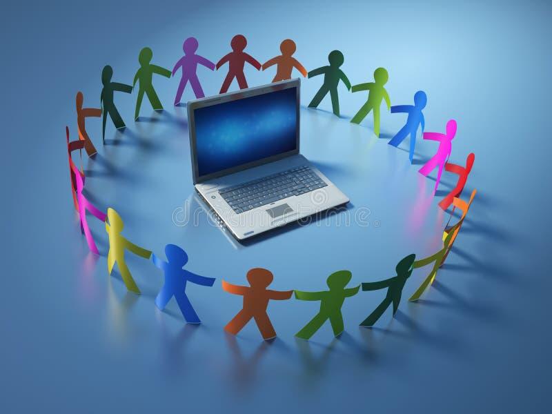 Teamwork-Piktogramm-Leute mit Computer-Laptop stock abbildung
