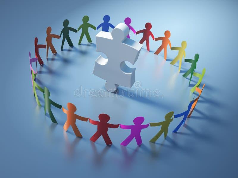 Teamwork-Piktogramm-Leute mit Puzzle-Stück stock abbildung