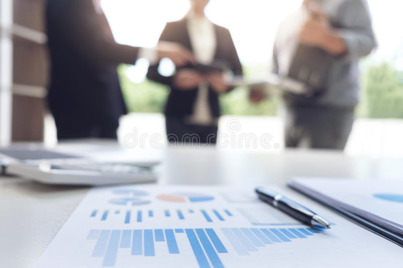 Teamwork process, Blurred abstract background of Business people royalty free stock photo