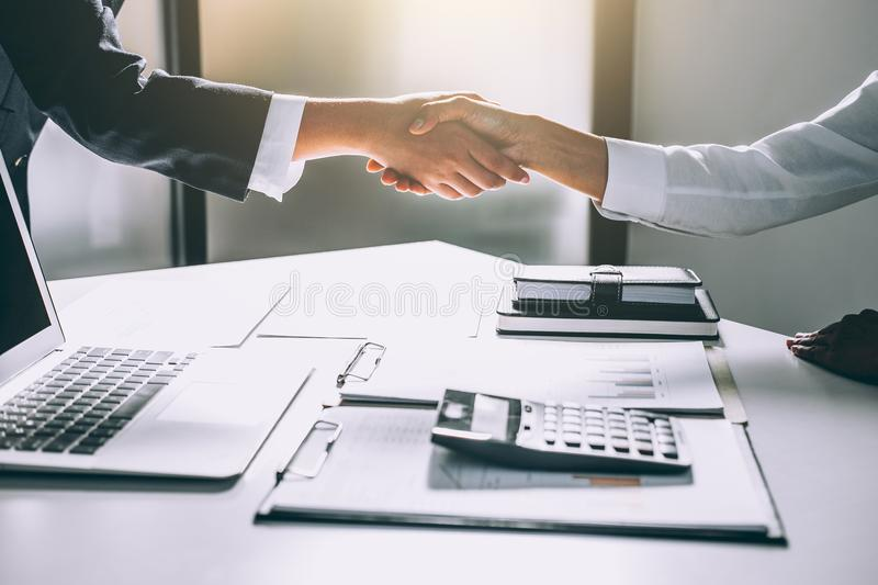 Teamwork process, Image of business team greeting handshake. Successful business people handshaking after good deal, success, dea. Ling, greeting & business royalty free stock photography