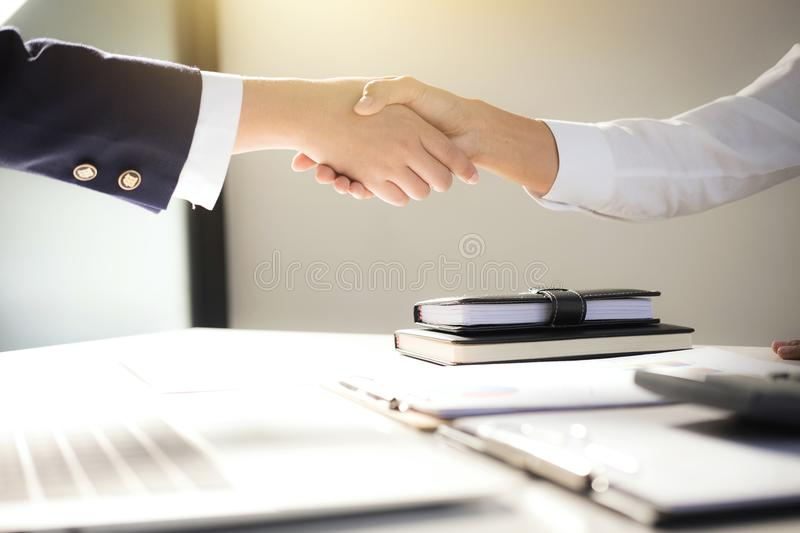 Teamwork process, Image of business team greeting handshake. Successful business people handshaking after good deal, success, dea. Ling, greeting & business stock image