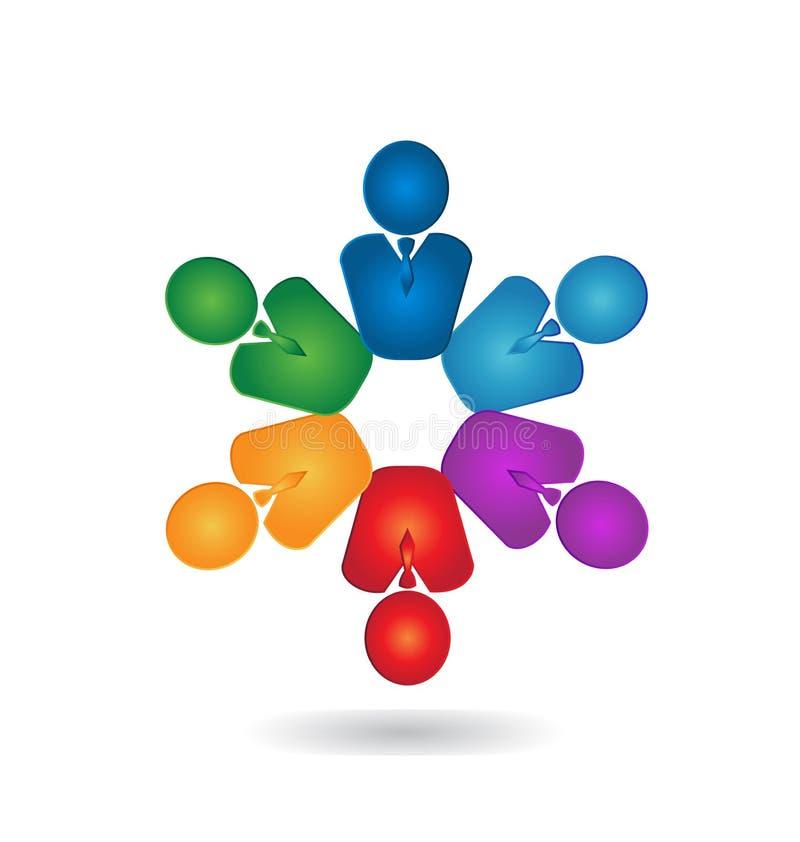 Teamwork professional business people logo. Vector icon illustration royalty free illustration