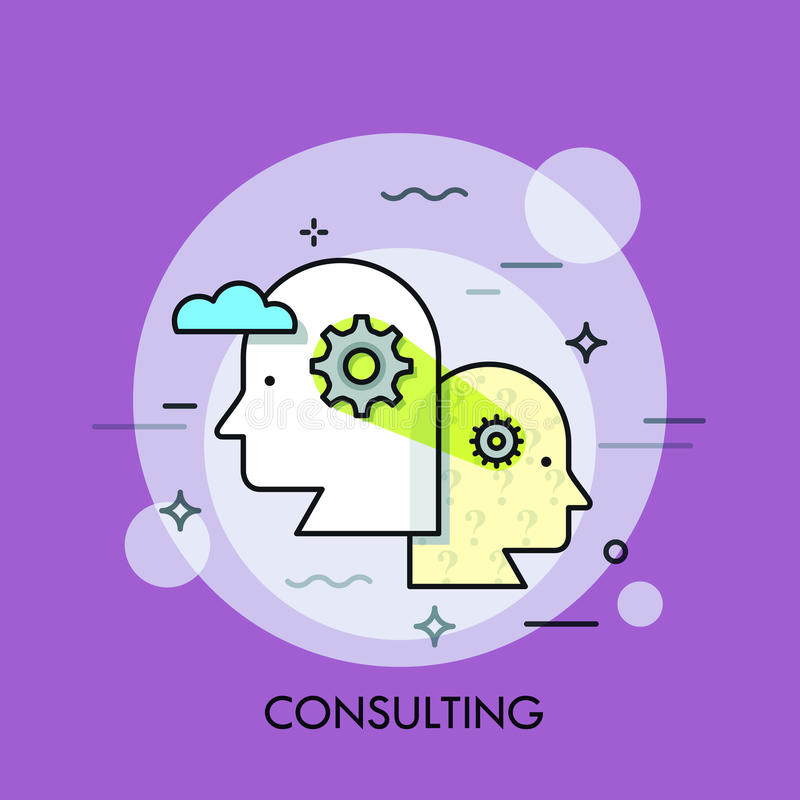Teamwork, professional cooperation and business development strategy concept, collective thinking. Consulting service logo, icon. Vector illustration in thin stock illustration