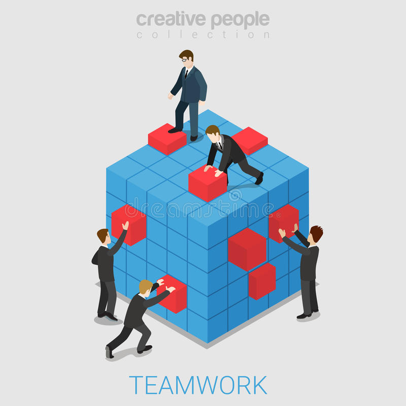 Teamwork project collaboration flat 3d isometric vector royalty free illustration