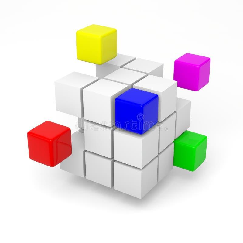 Teamwork project concept. Combining color cubes teamwork project concept 3d illustration stock illustration