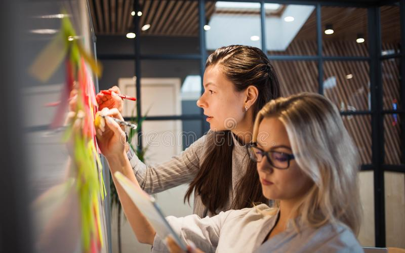 Teamwork, project management, agile methodology. Two young business women in the office royalty free stock photo