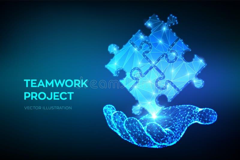 Teamwork Pusselbeståndsdelar i hand Begreppsm?ssig bild 3d Symbol av teamwork, samarbete, partnerskap, anslutning och anslutning stock illustrationer