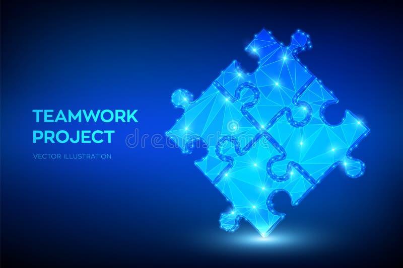 Teamwork Pusselbest?ndsdelar Begreppsm?ssig bild 3d Symbol av teamwork, samarbete, partnerskap, anslutning och anslutning L?gt po stock illustrationer