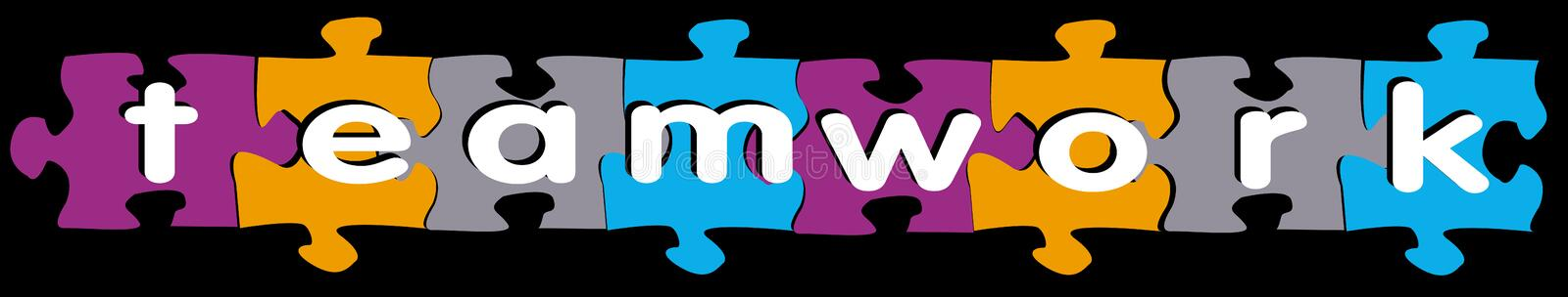 Teamwork puzzle. An image showing the word teamwork placed over a colourful jigsaw background royalty free illustration