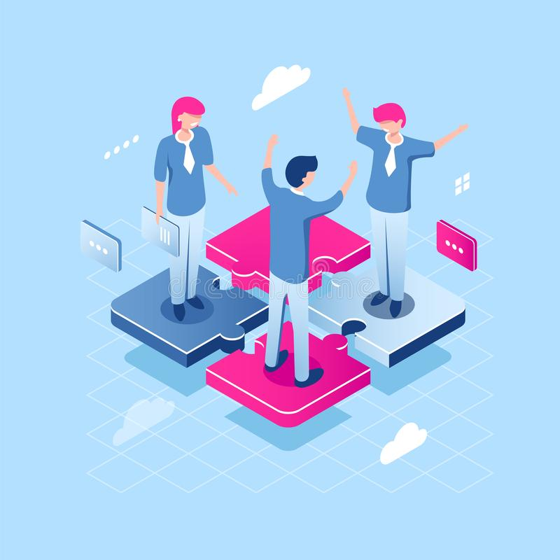 Teamwork puzzle concept, abstract team isometric business icon, collaborate of people, achievement of common goal, happy. Girl and young man manager, flat stock illustration
