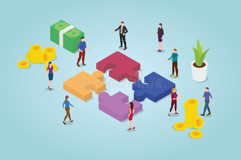Teamwork puzzle concept with team working together with puzzles and some financial icon with modern flat style - vector royalty free illustration