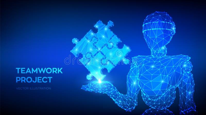 Teamwork. Puzzle elements. Team metaphor. Symbol of teamwork, cooperation, partnership. Abstract 3d low polygonal robot holding vector illustration