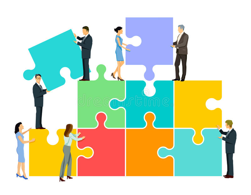 Teamwork puzzle vector illustration