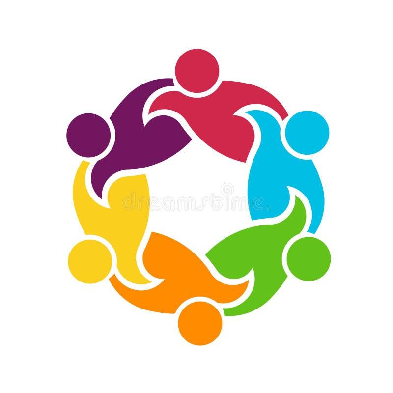 Teamwork Round Circle of 6 People Group Illustration stock illustration