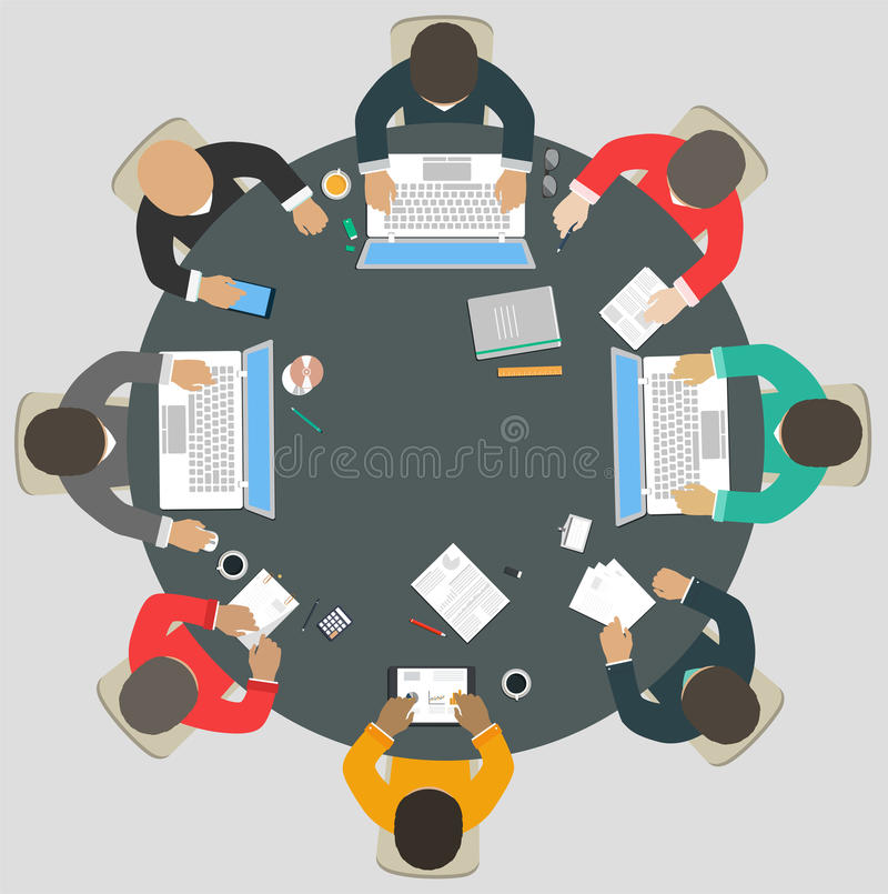 Teamwork for roundtable. Business strategy of success vector illustration