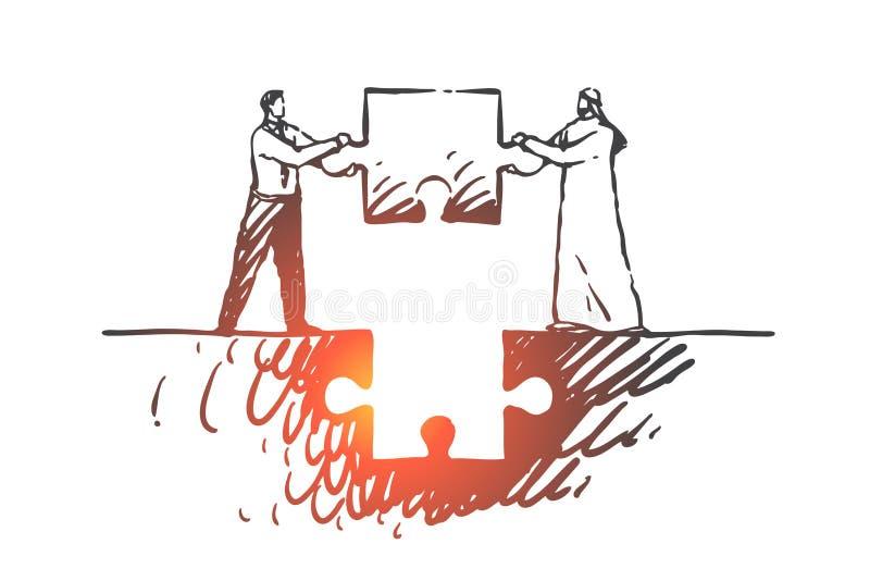 Teamwork samarbete, tillsammans, partnerskap, affärsmanbegrepp skissar Hand dragen isolerad vektorillustration vektor illustrationer