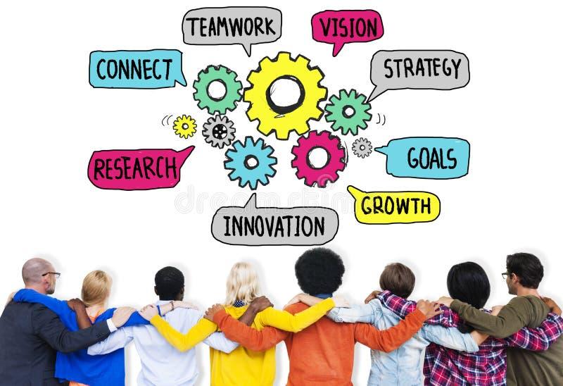 Teamwork schließen Strategie-Vision übersetzen zusammen Konzept an lizenzfreies stockbild