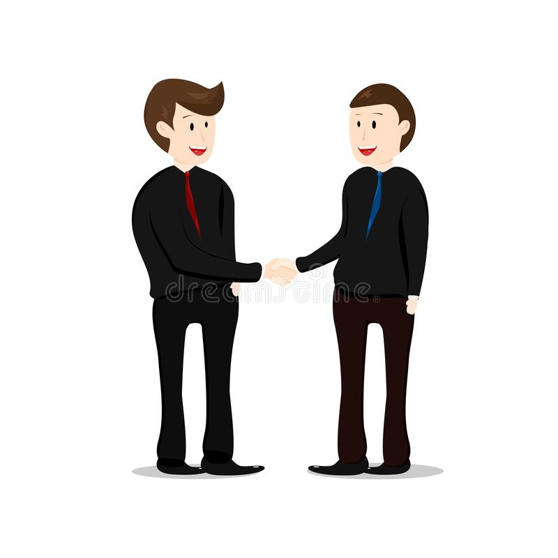 Teamwork, shake hands, business man partner working together, ch. Aracter cartoon collection flat design vector isolated on white background royalty free illustration