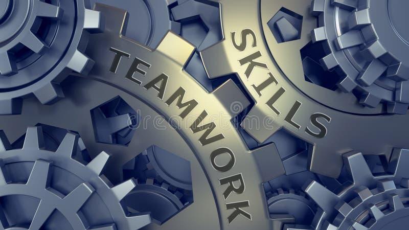 Teamwork skills. words imprinted on metal surface 3d illustration. Gold and silver gear weel stock illustration
