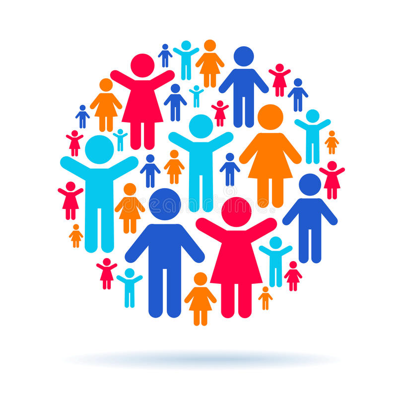 Teamwork and social interaction royalty free illustration