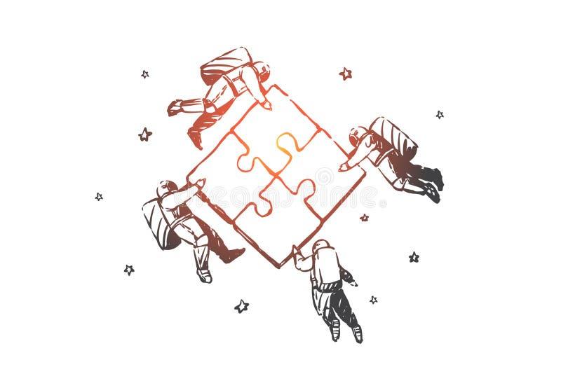 Teamwork som coworking, partnerskap, framgångbegrepp, skissar Hand dragen isolerad vektorillustration stock illustrationer